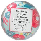 Joyce Meyer Glass Paperweight: He Gifts You the Faith, Red/White/Blue Flowers
