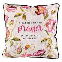 Square Pillow: A Day Hemmed in Prayer... Red Flowers