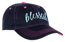 Cherished Girl Cap: Blessed, Navy/Red (Ephesians 1:3)