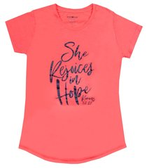She Rejoices in Hope, Large Coral Heather (Romans 12: 12) (Grace & Truth Womens T-shirts Series)