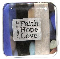Reflections Glass Magnet: Faith, Hope, Love (Blue/Black/Beige) (1 Cor 13:13)