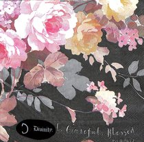 Napkins: Thankful, Grateful, Blessed, Floral on Black Background